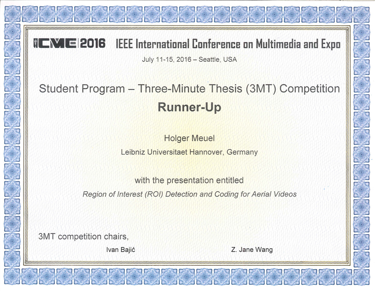 IEEE ICME2016 3MT Runner-Up Certificate